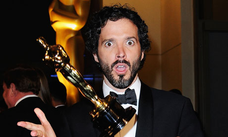 Songwriter Bret McKenzie with his best song gong at the 2012 Academy awards