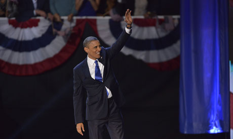 Barack Obama victorious on election night 2012