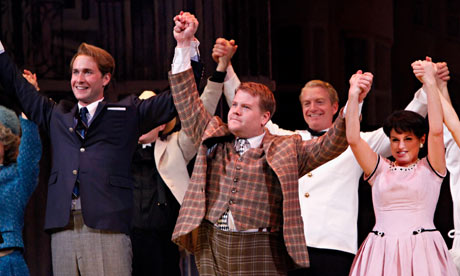 Oliver Chris, James Corden and Jemima Rooper in One Man, Two Guvnors