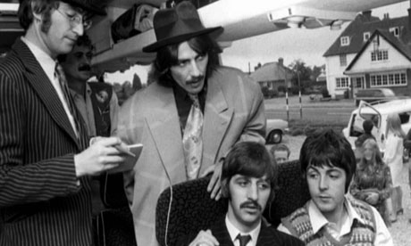 The Beatles on the Magical Mystery Tour bus