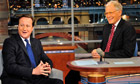 David Cameron on Late Show host Letterman in New York