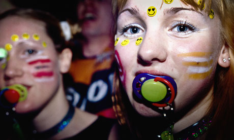 Two girls at a raving/clubbing/partying on the UK acid house club scene