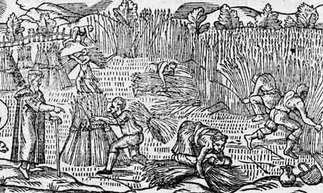 Detail of a harvesting scene circa 1577 from Holinshed's Chronicles