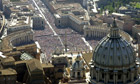 Vatican City, showing St Peter's Basilica, bottom, overlooking Gian Lorenzo Bernini's piazza.