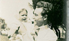 Emma Brockes's mother, Paula, as a baby with her father, Jimmy