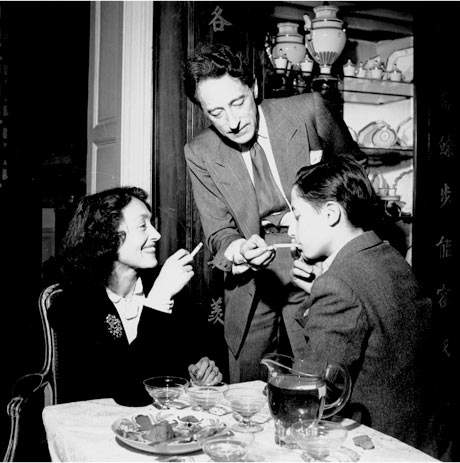 Nusch Eluard, Jean Cocteau and unknown man, Paris, France, 1944