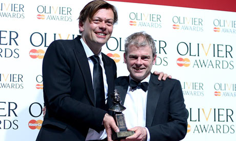 Simon Stephens and Mark Haddon with their Olivier award for best new play
