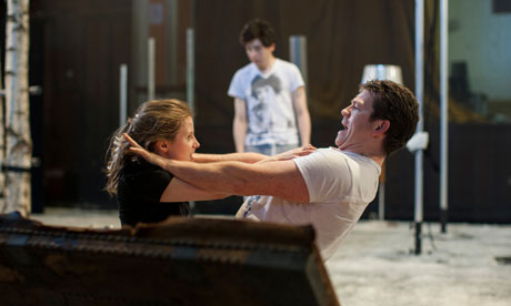 Rebecca Benson and Chris Reilly rehearsing Let the Right One In