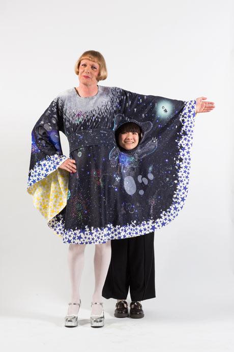 Grayson Perry wears Ayaka Sakurai's winning design