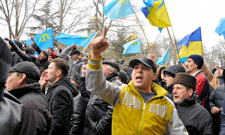 Crimean Tatar Protest Against Pro Russia Demonstrators Occupation of Crimean Assembly