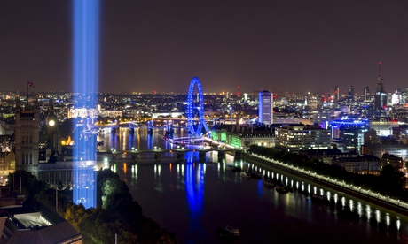 Ryoji Ikeda's spectra shoots up into the London sky