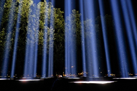 Ryoji Ikeda's Spectra is tested in Victoria Tower Gardens, London