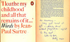 Inscribed copy of Jean-Paul Sartre's Words