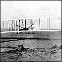 The first flight of the Wright Flyer at Kitty Hawk