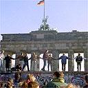 Berliners celebrate the opening of East-West German borders, November 10 1989