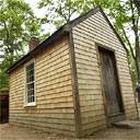 A replica of the hut Thoreau built at Walden Pond