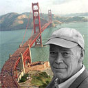 Photomontage of Jonathan Raban and the Golden Gate Bridge