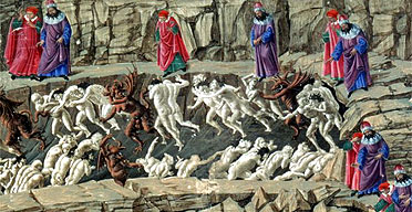 Botticelli's illustration for Canto XVIII of Dante's Inferno