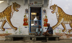 India painted tiger doorway