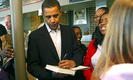Barack Obama signs a copy of The Audacity of Hope