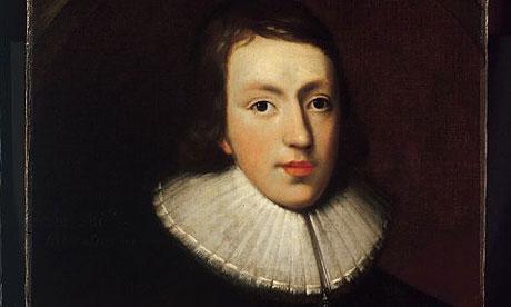 Detail from portrait of John Milton by unknown artist