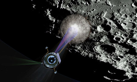 Illustration of NASA's LCROSS crashing into moon