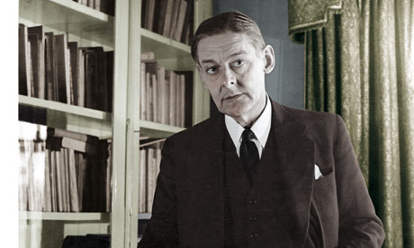 TS Eliot in front of bookcase