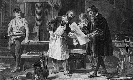 Johann Gutenberg taking the first ever proof of the printing press he invented