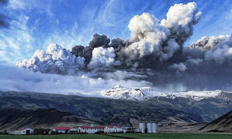 Volcanic ash rises from a crater under the Eyjafjallajokull glacier in Iceland