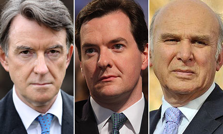 Peter Mandelson, George Osborne and Vince Cable