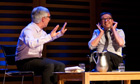 Listening in … David Nicholls, right, with John Mullan at the Guardian book club.