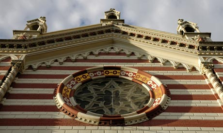 Detail of the church of Maria del Carmen in Bogota, Colombia