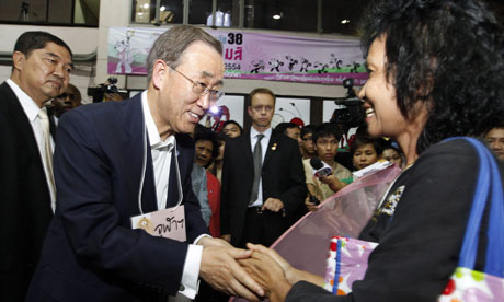 UN Secretary General Ban Ki-moon visit flood affected