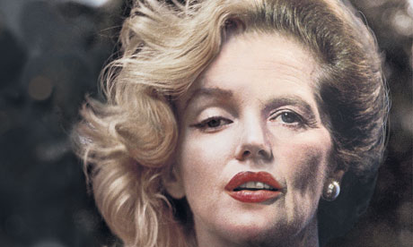 Artwork showing Marilyn Monroe's face merging with that of Margaret Thatcher