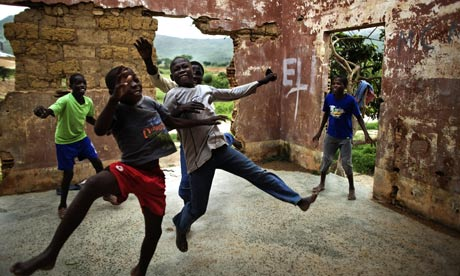 Angolan kids play football