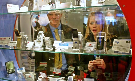 martphones at the TTPCom stand, during the 3GSM World Congress 2005 in Cannes