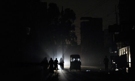 A street in Karachi during a power cut