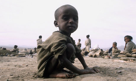 A starving child in an Ethiopian famine