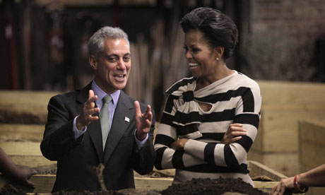 First lady Michelle Obama chats with Chicago mayor Rahm Emanuel