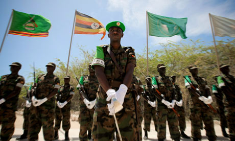An African Union Mission in Somalia (Amisom) honour guard at Mogadishu airport.