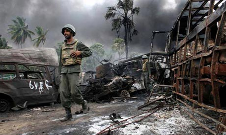 Sri Lankan soldiers inside the war zone in the north of the country in May 2009