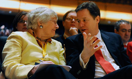 The Liberal Democrat leader, Nick Clegg, speaks with  Shirley Williams