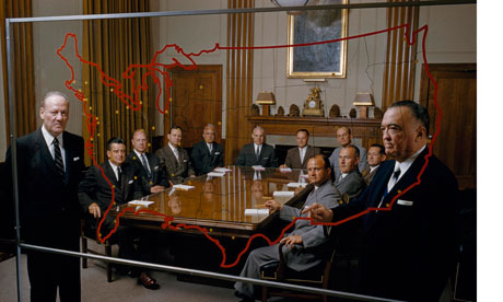 J Edgar Hoover points to FBI field offices on a map to top officials