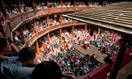 Shakespeare being performed at the Globe Theatre