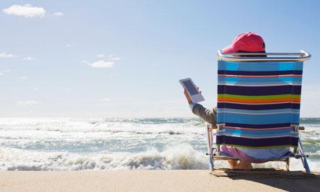 Reading an ebook at the beach