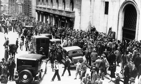 Panicked stock traders crowd outside the New York Stock Exchange on the day of the crash in 1929