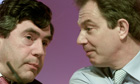 Gordon Brown and Tony Blair give a press conference in 2001