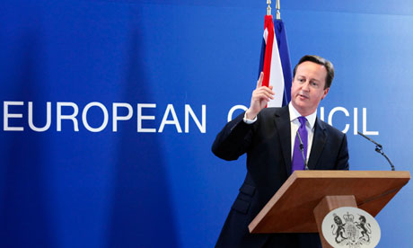 Prime Minister David Cameron addresses a news conference after anEU leaders summit in Brussels