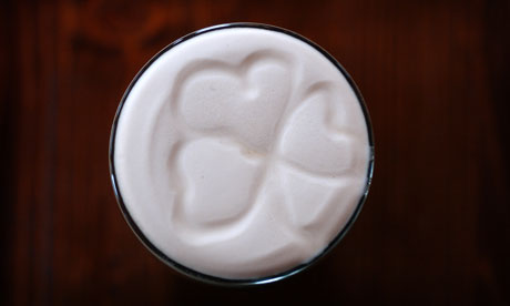 Leaf giver … a pint of Guinness, complete with shamrock.
