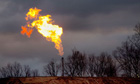 A gas flare burns at a fracking site in Pennsylvania